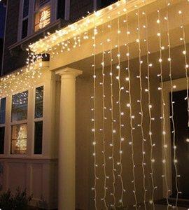 Недорогие гирлянды для дома: световые занавесы, бахрома, светодиодные сетки